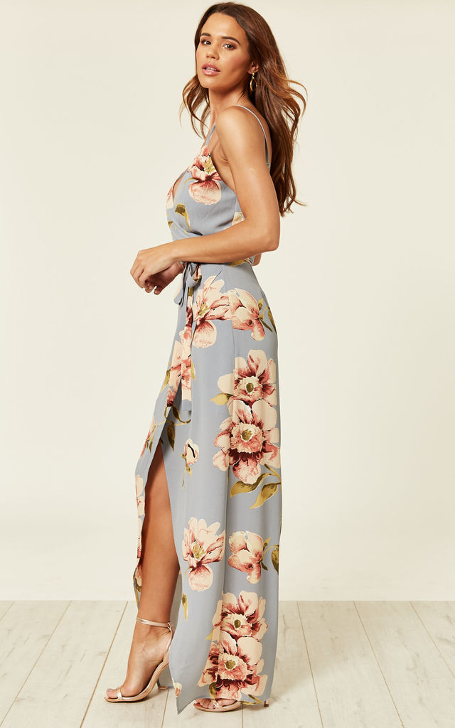 Mia Floral Wrap Maxi Dress Silver by Girl In Mind