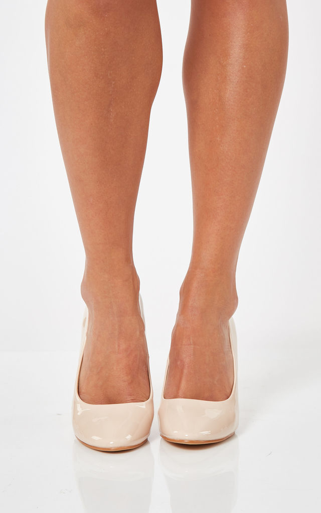 Nude Patent Mid Heel Court Shoes by Truffle Collection
