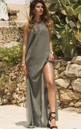 Esmerelda Khaki Maxi Dress Beach Cover Up by AQUALUXE Product photo