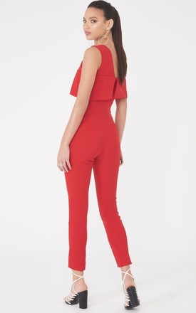 Asymmetric Cold Shoulder Jumpsuit in Red by Lavish Alice
