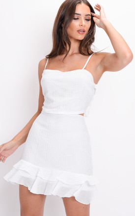 Frilled Tie Back Crop Top and Skirt Co Ord Set White by LILY LULU FASHION