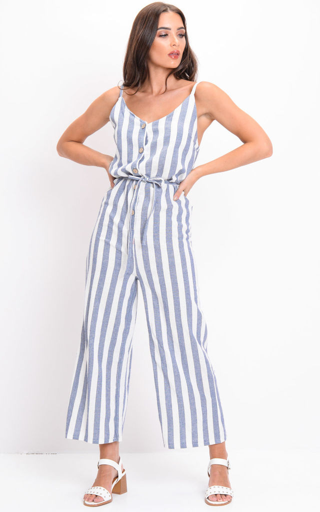 Blue Stripe Button Front Jumpsuit White by LILY LULU FASHION