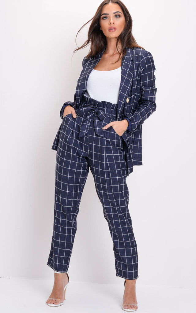 Tailored White Checked Blazer Navy Blue by LILY LULU FASHION