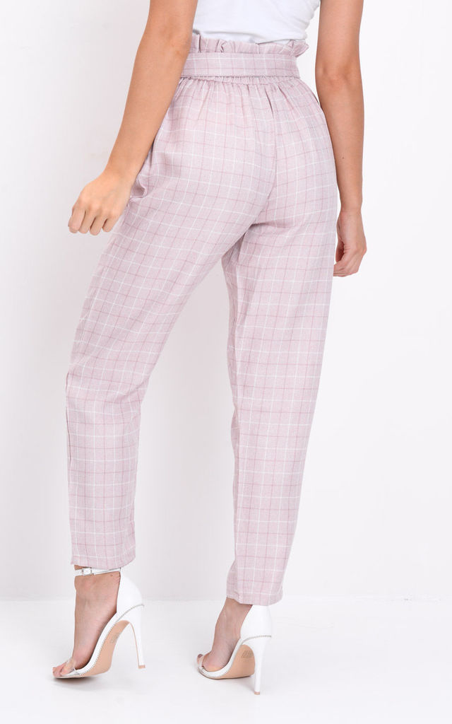 Checked Paperbag High Waisted Tailored Trousers Pink by LILY LULU FASHION
