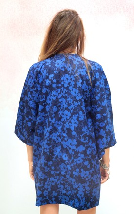 Vintage traditional Japanese blue and black kimono jacket by Colour Me Vintage