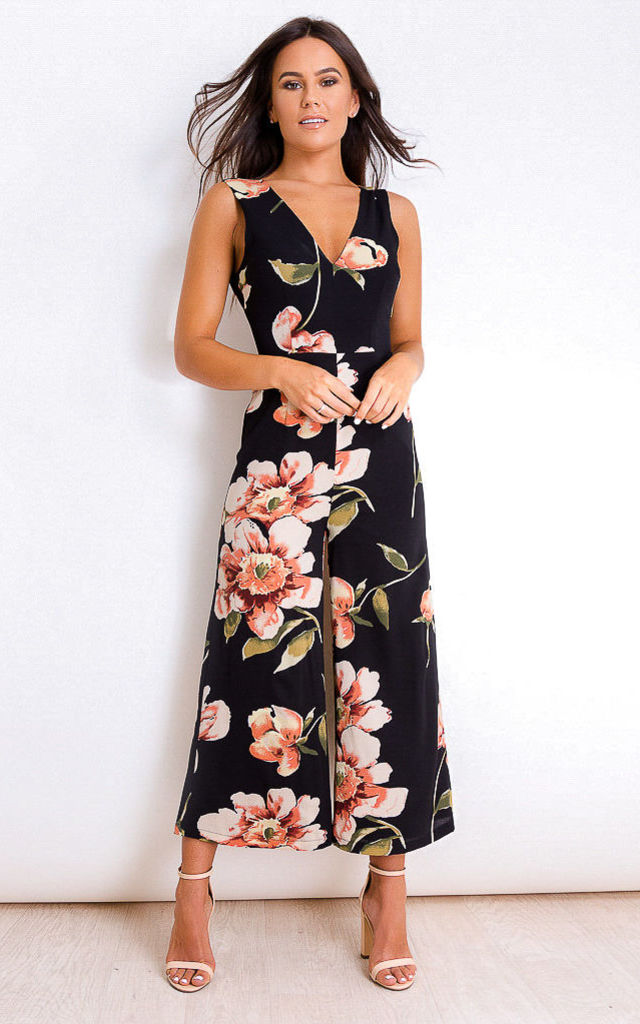 Polly Floral V Neck Culotte Jumpsuit Black by Girl In Mind