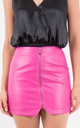 Fushia High Waist Zip Front Asymmetric Mini Skirt by MISSTRUTH