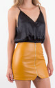 Mustard High Waist Zip Front Asymmetric Mini Skirt by MISSTRUTH