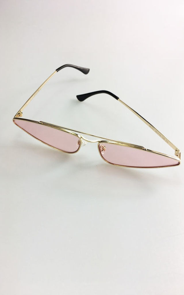 Skinny Cat Eye Rose Gold Sunglasses by Urban Mist