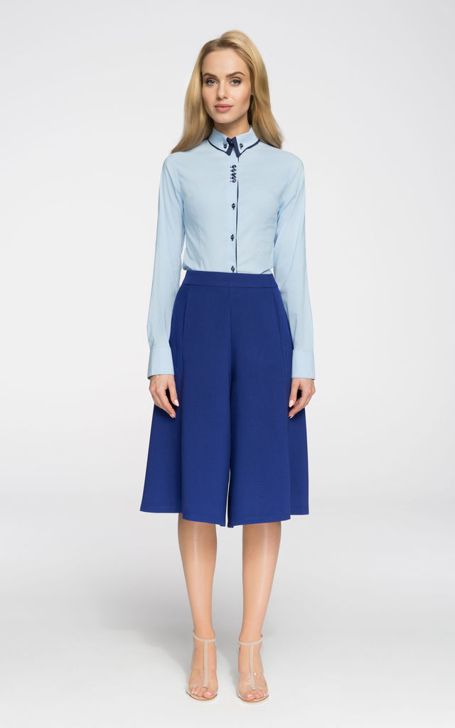 Light Blue Long Sleeve Fitted Shirt With Contrast Details by MOE