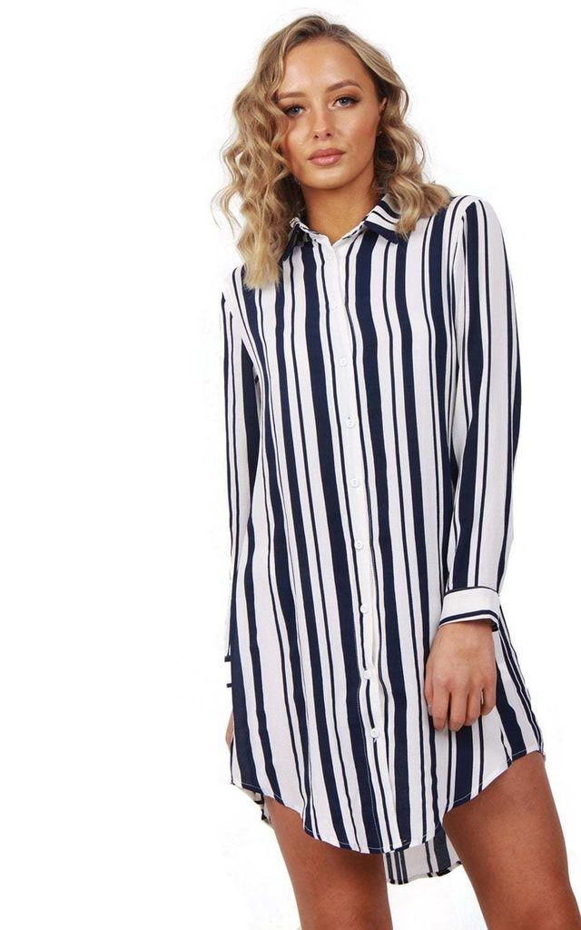 Blue Long Sleeve Striped Shirt Dress With Curved Hem by Urban Mist