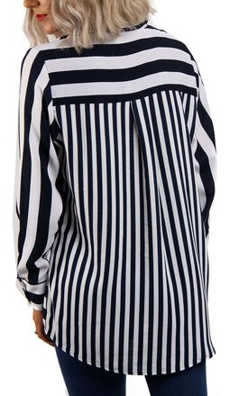 Black Long Sleeves Stripe Shirt Blouse With Front Pocket by Urban Mist