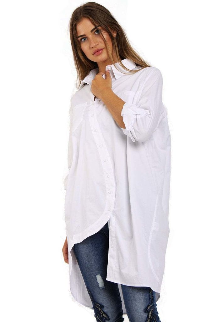 White Curved Hem Long Button Up Blouse Shirt by Urban Mist