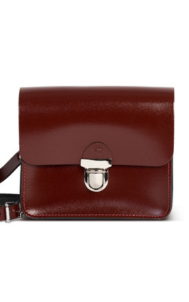 Sofia Crossbody Bag Oxblood Patent by Gweniss Product photo