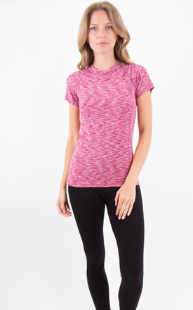 Pink Crew Neck Short Sleeves Fitted  Sporty Stretch Top by MISSTRUTH