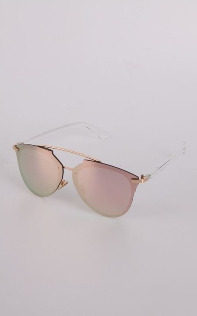 Rose Gold Mirror Lens Aviator Sunglasses by Urban Mist