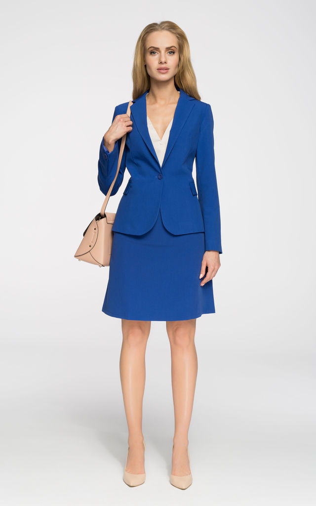 Blue Classic Fitted Blazer With One Button by MOE