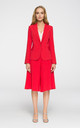 Red Classic Fitted Blazer With One Button by MOE