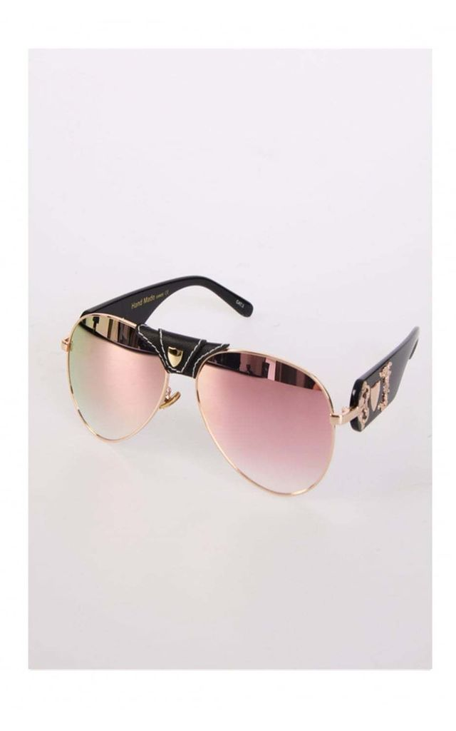 Rose Gold Faux Leather Press Stud Bar Aviator Sunglasses by Urban Mist