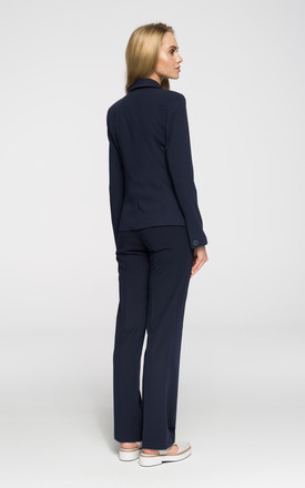 Navy Blue Classic Fitted Blazer With One Button by MOE
