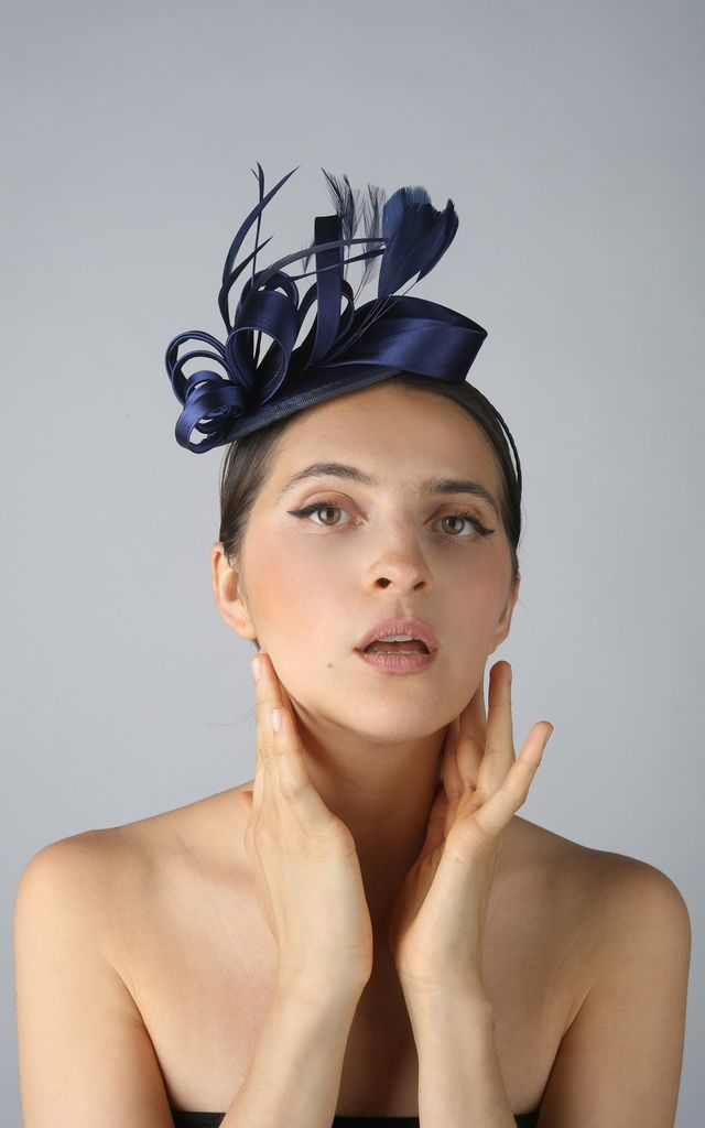 Vintage Navy Feather & Ribbon Fascinator by Ruby Rocks Accessories