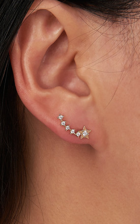 Shooting Star Stud Earrings In Gold by DOSE of ROSE Product photo