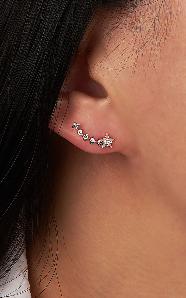 Shooting Star Stud Earrings in Rose Gold by DOSE of ROSE