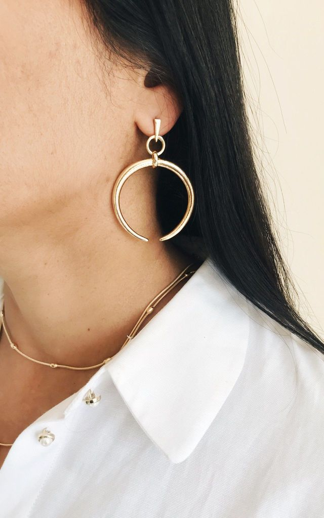 Crescent Moon Hoop Earrings by Ajouter Store
