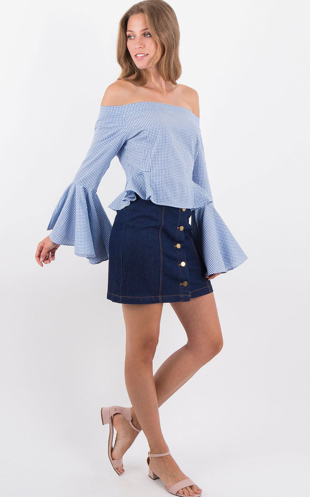 Blue Gingham Off Shoulder Long Flared Sleeves Peplum  Blouse by MISSTRUTH
