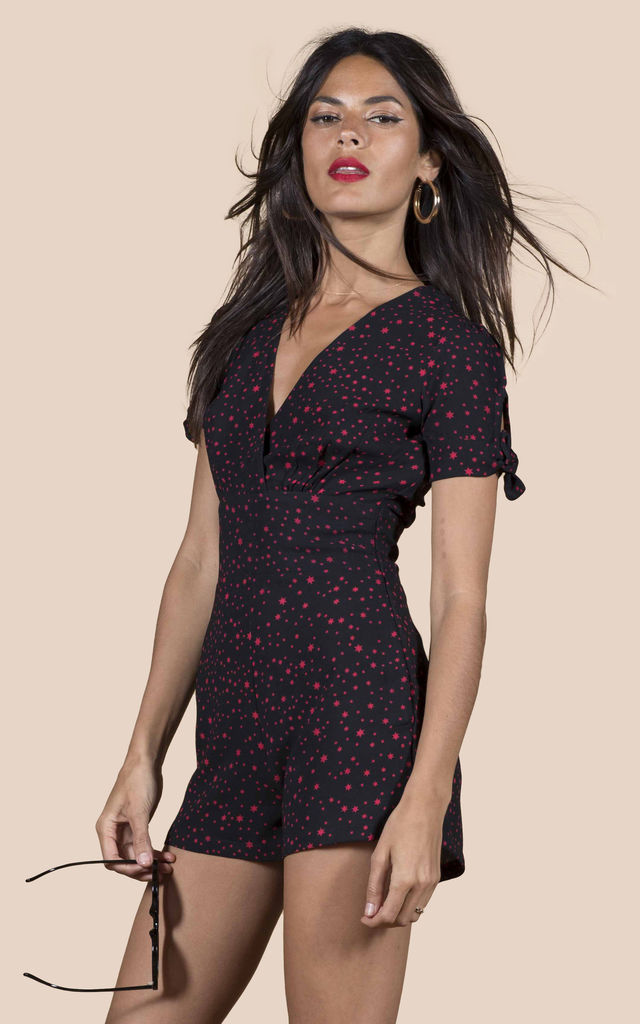 JUNO PLAYSUIT IN MIDNIGHT RED STAR image