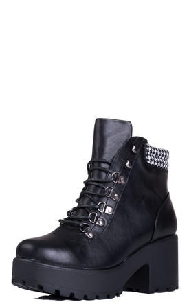 MAGPIE Lace Up Block Heel Ankle Boots Shoes - Black Leather Style by SpyLoveBuy