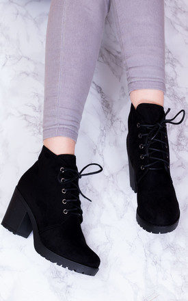 Gira Lace Up Chunky Block Heel Ankle Boots Shoes   Black Suede Style by SpyLoveBuy Product photo