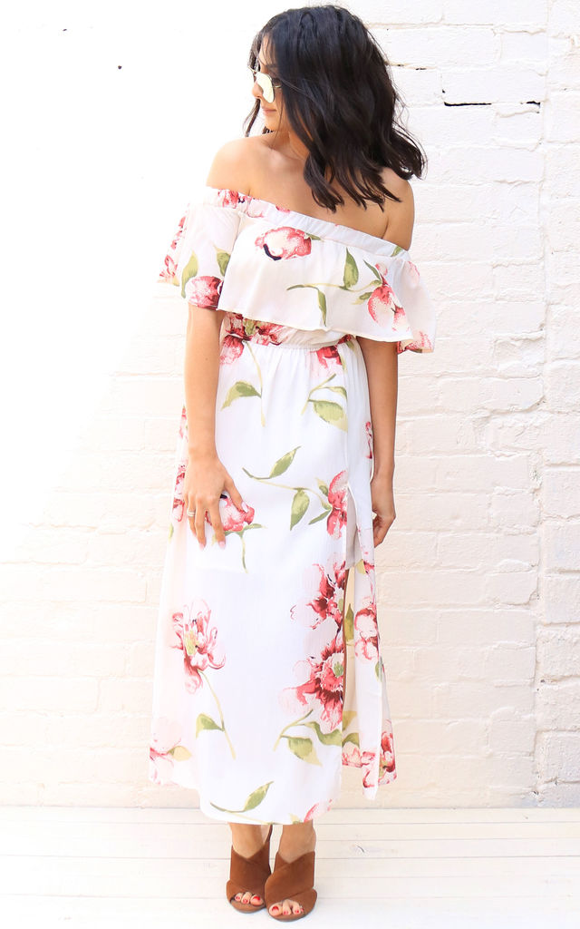 6f26a34685 Scattered Floral Print Frill Off The Shoulder Bardot Maxi Dress in Cream &  Pink by One