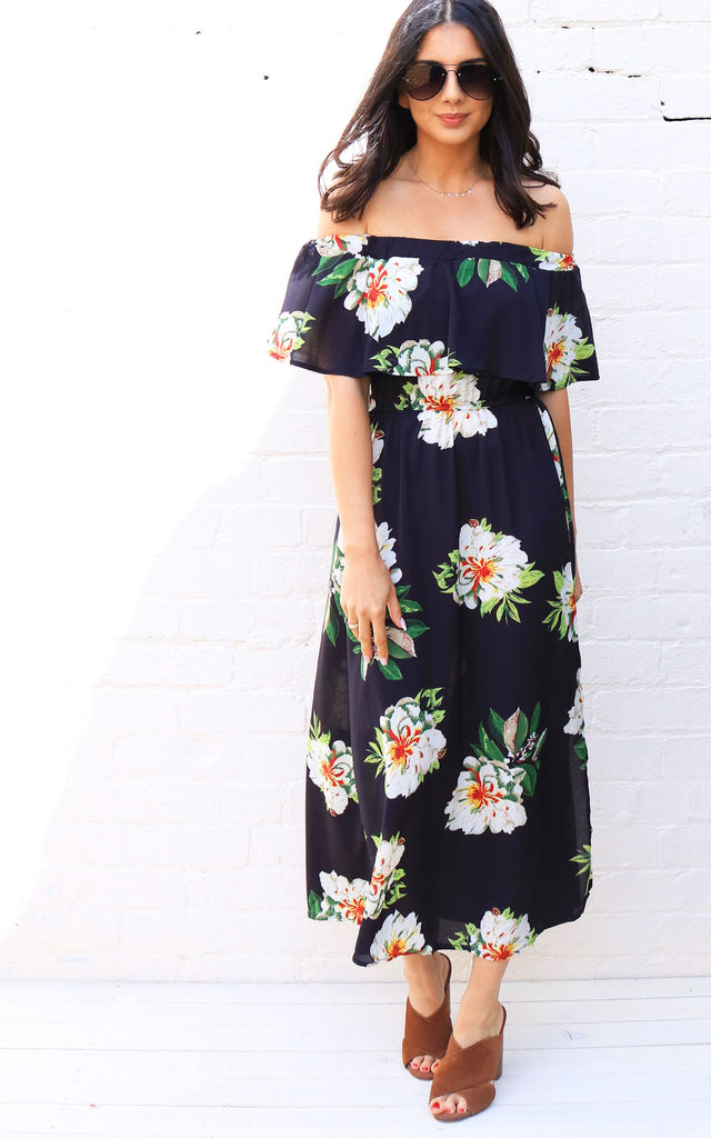 39704e17881a4 Scattered Floral Print Frill Off The Shoulder Bardot Maxi Dress In Black,  White & Green. By One Nation Clothing