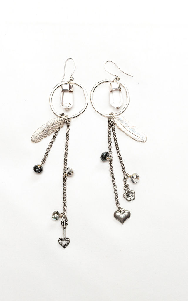 Hoop Tassel Charm Earrings by Tiana Jewel