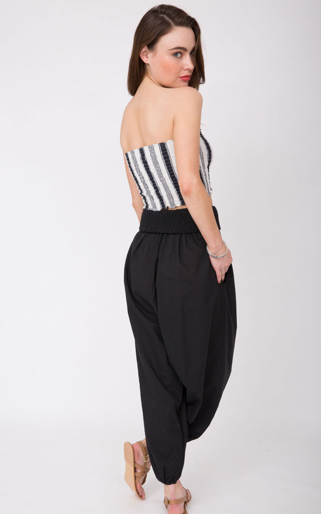 2 in 1 Cotton Harem Trouser or Bandeau Jumpsuit Black by likemary