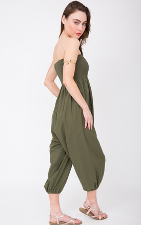 2 In 1 Cotton Harem Trouser Or Bandeau Jumpsuit Khaki by likemary Product photo