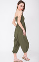2 In 1 Cotton Harem Trouser Or Bandeau Jumpsuit Khaki by likemary