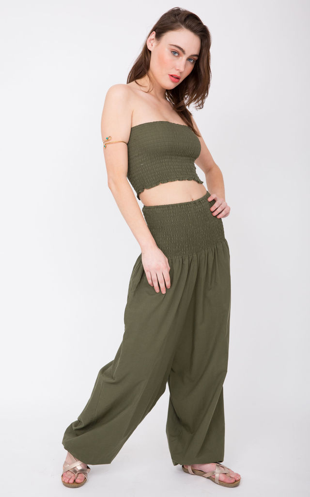 111a680def3 2 In 1 Cotton Harem Trouser Or Bandeau Jumpsuit Khaki by likemary