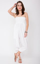 2 in 1 Cotton Harem Trouser or Bandeau Jumpsuit White by likemary