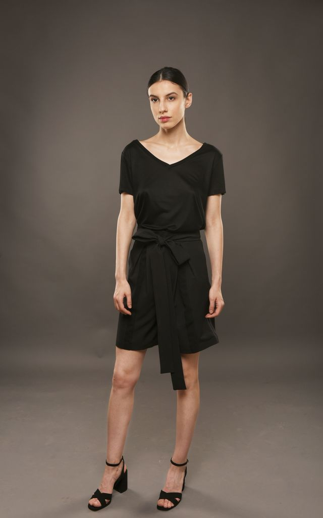 Black Culottes Shorts with Pleats and Pockets by ACURRATOR