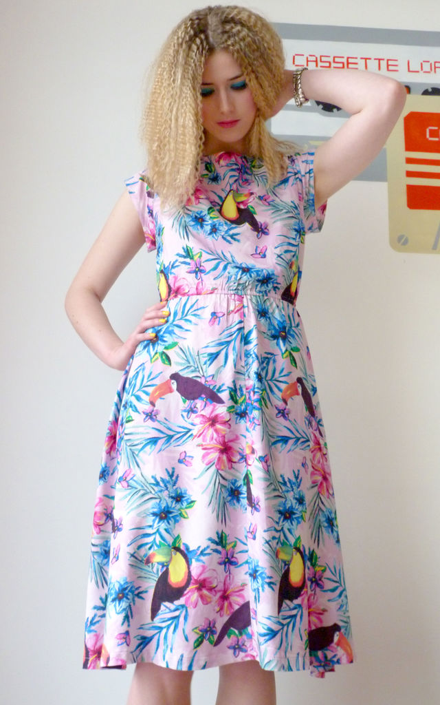 Andrea Pink Toucan / Floral 50's Style Dress by Krissyfied Boutique