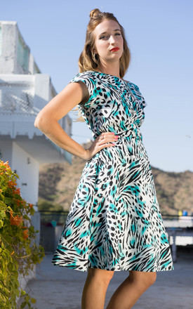 Andrea Turquoise Leopard Print 50's Style Dress by Krissyfied Boutique Product photo