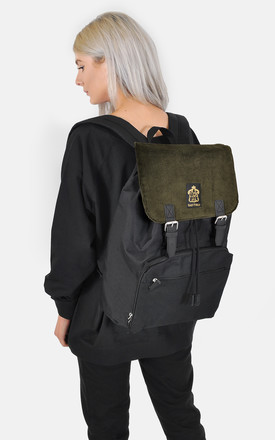 khaki corduroy panel laptop backpack by The Left Bank