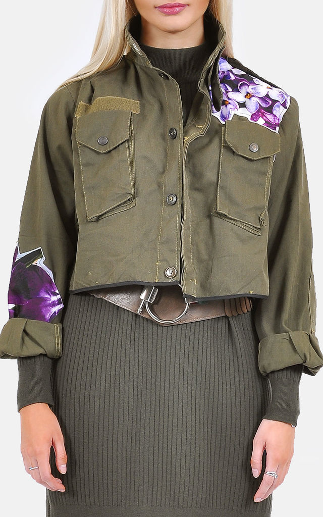 Cropped Military Jacket w/floral detail by The Left Bank