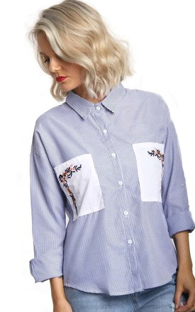 Blue Pin Stripe Floral Embroidered Pocket Button Up Blouse by Urban Mist