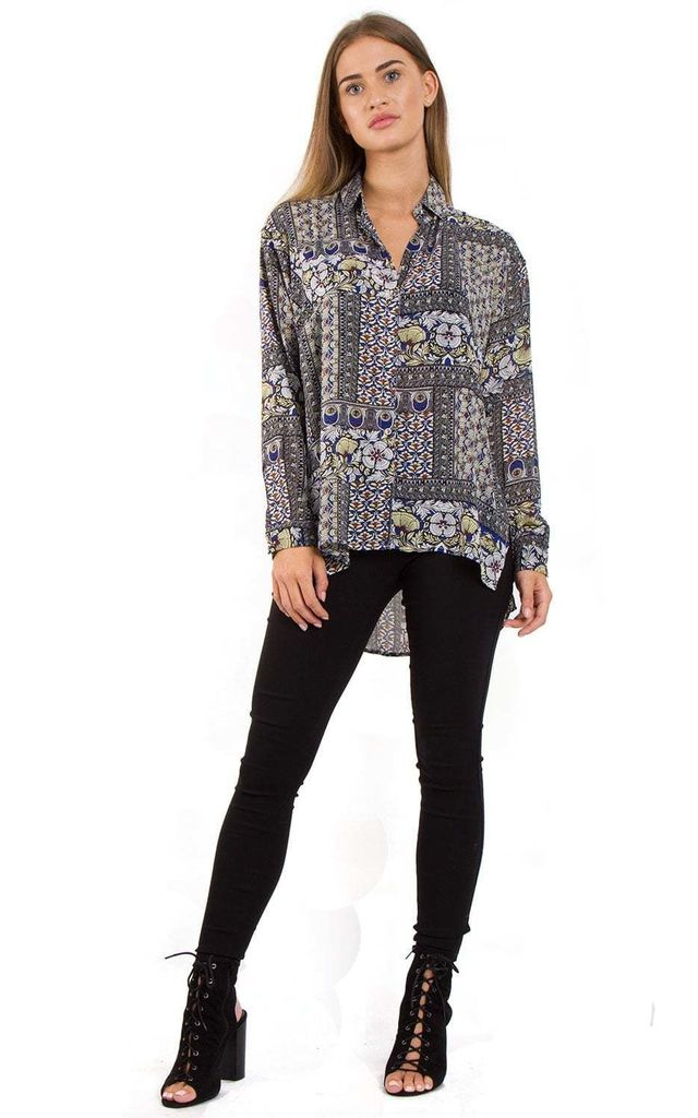 Royal Blue Floral Roman Pattern Printed Asymmetric Blouse by Urban Mist