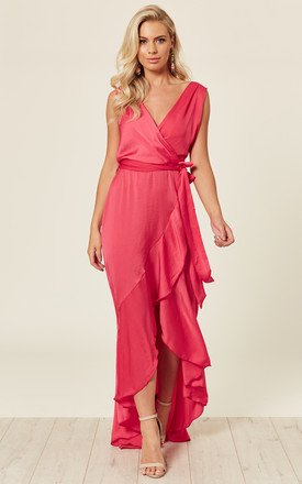 WRAP FRONT MAXI DRESS CORAL by FLOUNCE LONDON