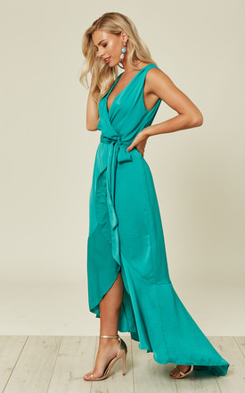 Wrap Front Maxi Dress Green by FLOUNCE LONDON Product photo
