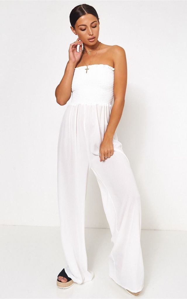 White Bandeau Jumpsuit Tall Collection by The Fashion Bible